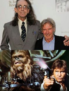 Peter Mayhew and Harrison Ford Ewok, Chewbacca, British American, American Actors, Peter Mayhew, Star Wars Facts, War Film, Star War 3, The Empire Strikes Back