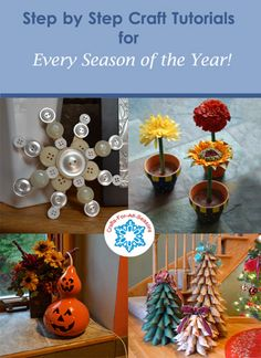 Crafts For All Seasons has over 180 craft project tutorials, all with step by step photos. There are fun crafts for kids, as well as more challenging projects for adults. - Crafting In Line Arts And Crafts House, Diy Arts And Crafts, Fall Crafts, Diy Crafts, Crafts For Seniors, Fun Crafts For Kids, Senior Crafts, Craft Tutorials, Craft Projects