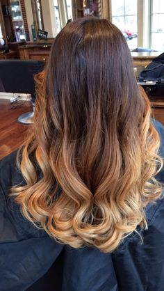 Balayage Ombre Hair. Dark brown to light brown, blonde. Fall cut and color.