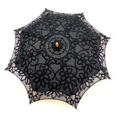Cotton and Lace Parasol - Black