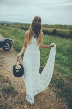 "Crochet Lace Racerback Untraditional Bohemian Wedding Dress for Indie Wedding - ""Dylan"" by Daughters of Simone"