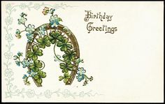 Fancy Birthday Greeting with Four Leaf Clover & Horseshoe