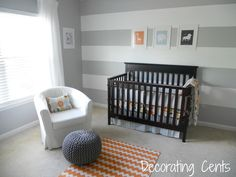 Gray, white and orange nursery - I love this one!