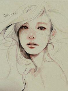 Un hermoso retrato.  No sé quién lo hizo pero encantan los dibujos a lápiz.  Aunque algunos lo consideren un anacronismo...