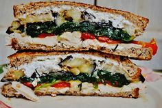 roasted vegetable chicken goat cheese and basil pesto sandwiches for lunch! nom nom nom
