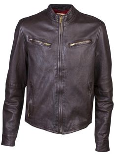 Biker jacket in brown from Levi's Made And Crafted. This sheep leather jacket features a round neck, zip front closure, and long sleeves with a straight zipper fasten. Has a four pocket design on the front, short belt strap on each back side, and tonal stitching. Has contrasting leather panel, and full lining.