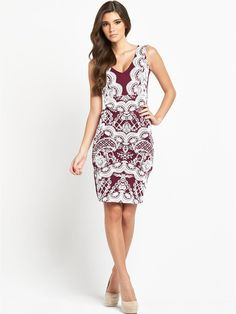 Lipsy Lace Bodycon Dress Get ready for party season in style this year with this gorgeous lace bodycon dress by Lipsy.In a bodycon fit, this frock sleeks your curves, showing off your enviable hourglass figure that's sure to catch the eye of an admirer or two! The wine hue is rich and decadent, just what this season craves, while the white lace to the front creates a beautiful contrast of colours and textures adding vintage appeal to your looks.Complete your outfit with a pair of nude…