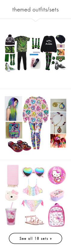 """""""themed outfits/sets"""" by fatallylovely ❤ liked on Polyvore featuring weed, couple, marijuana, cannabis, pot, 90s, rainbow, lisafrank, SW Global and Giambattista Valli"""