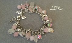 Rose Quartz bohemian charm bracelet, Fairy charm bracelet, pink and white gemstone boho gypsy bracelet, gift for her bracelet, by CrystalHartandSoul on Etsy