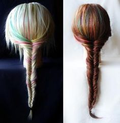 Fishtail Braid Extensions  Rainbow Pastel