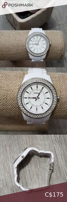 Check out this listing I just found on Poshmark: Fossil * Glitz White Resin Watch * Diamond Bezel. #shopmycloset #poshmark #shopping #style #pinitforlater #Fossil #Accessories Pink Watch, Gold Watch, Couple Watch, Slingback Pump, Watch Brands, Fossil, Women's Accessories, Resin, Diamond