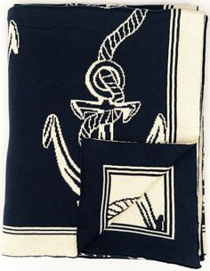 Navy and White Throw with Rope and Anchor - New!  Lightweight and soft, perfect for spring and summer coziness!