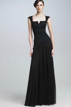 Black Chiffon A-line Evening Gown with Stylish Neckline Design, Quality Unique Evening Dresses - Dressale.com