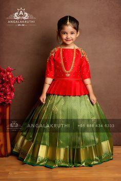 Kids pattu pavada designs by angalakruthi Bangalore india Girls Frock Design, Baby Dress Design, Kids Frocks Design, Baby Frocks Designs, Kids Lehanga Design, Kids Dress Wear, Kids Gown, Kids Wear, Frocks For Girls