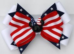 Red White and Blue Stars and Stripes Minnie Inspired by bowsforme, $7.49