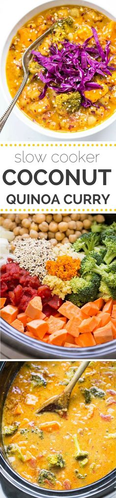 Slow Cooker Coconut Quinoa Curry - Simply Quinoa COCONUT QUINOA CURRY -- made in the slow cooker with only a few simple ingredients. Only fresh, wholesome ingredients, it's naturally gluten-free AND vegetarian too! Veggie Recipes, Indian Food Recipes, Whole Food Recipes, Vegetarian Recipes, Healthy Recipes, Vegetarian Curry, Veggie Food, Carrot Recipes, Chinese Recipes