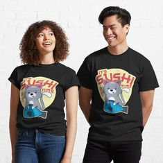Cute Anime Cat, Sushi Time, Kawaii Cat, Design Show, My T Shirt, Female Models, Classic T Shirts, Shirt Designs, Fish