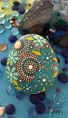 Painted Rock - Mandala Design Rock Art - Hand Painted Stone - blue luminescence collection #56 - $34 - ethereal & earth - otherworldly & of this world creation~