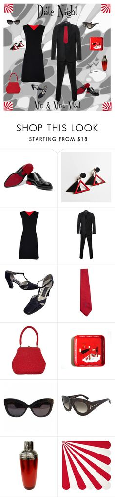 """""""Date Night with Mr. & Mrs. Mod"""" by anna-ragland ❤ liked on Polyvore featuring Berluti, Bill Blass, Paul Smith, Givenchy, House of Harlow 1960, Tom Ford, Casa Moda, Meri Meri, Waterford and vintage"""