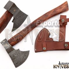 Andy Alm New Custom Hand Forged USA Damascus Bearded Axe Wooden Handle S204 #KnivesExporter