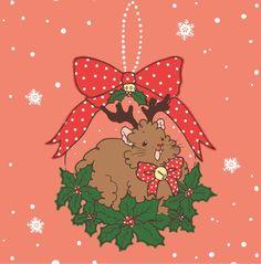 Rudolph Christmas Guineapig Square Greeting Card  Guinea pig Christmas Card