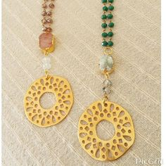 Rosary necklace with druzy agate and goldplate pendant