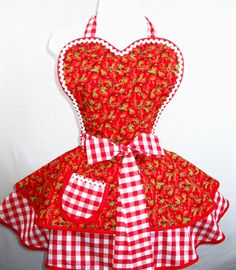 Juicy Farmers Market Strawberry Apron with Country Gingham. $55.00, via Etsy.