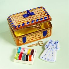 Limoges Sewing Basket with Dress and Scissors Box The Cottage Shop