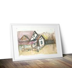 wall decor painting country house watercolor cottage art print artwork illustration modern poster pastel colors for interior home office by ArtKarinaStudio on Etsy