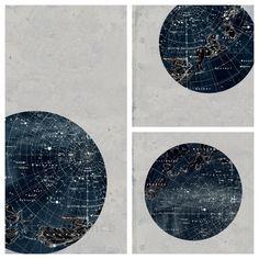 SET of Constellation Stars Map Zodiac Print Vintage Image. $40.00, via Etsy.