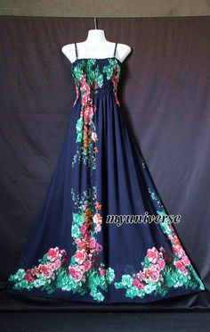 Navy Blue Dress Maxi Dress Summer Plus Size Floral by myuniverse