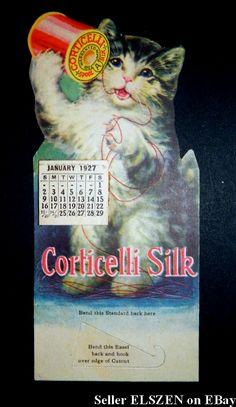 Amazing 1927 Kitten Corticelli Silk Advertising Calendar!