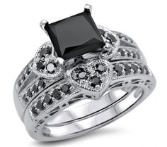FRONT JEWELERS - 2.27ct Black Princess Cut Diamond Heart Engagement Ring Wedding Set 14k White Gold