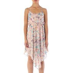 Vestido com estampa colorida, elástico na cintura e comprimento assimétrico - Soprano