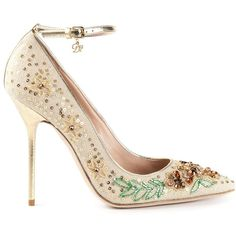 DSQUARED2 floral embellished pumps ($650) ❤ liked on Polyvore featuring shoes, pumps, heels, heels stilettos, floral pumps, leather pumps, stiletto shoes and floral print pumps