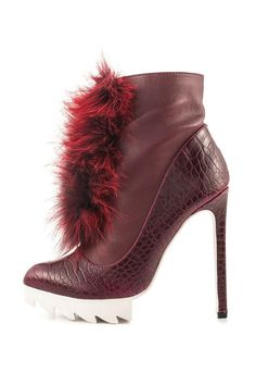 "Lorca vegan burgundy wine heel booties by Privileged. Leatherette and reptile print, fur embellishment. White lug platform sole and stiletto heel.    Measurements are approximate: Heel 5.25"", 10"" shaft, 10.5"" opening circumference   Burgundy Snakeskin Bootie by Privileged Shoes. Shoes - Booties - Heeled Michigan"