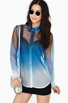 Dark Fade Mesh Blouse by Motel