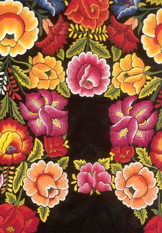 Teresa Lopez Jimenez of Oaxaca hand embroiders beautiful huipiles and fabric with traditional Zapotec designs Mexican Embroidery, Folk Embroidery, Embroidery Patterns, Mexican Textiles, Mexican Designs, Mexican Folk Art, Art Forms, Fabric Flowers, Textile Art