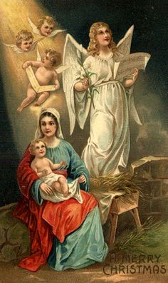 A Merry Christmas manger Christmas Nativity Scene, Victorian Christmas, Christmas Angels, Merry Christmas, Nativity Scenes, Xmas, Vintage Christmas Images, Christmas Pictures, Christmas Postcards