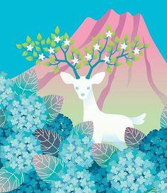 """김상철 on Instagram: """"하얀 사슴과 수국 #deer #flower #tree #mountain #horn #hydrangea #design #graphic #illust #artwork #drawing #사슴 #꽃 #뿔 #수국 #디자인 #일러스트 #그래픽 #아트웍 #드로잉"""""""