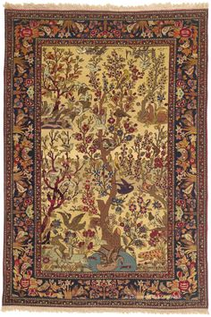"""TEHRAN """"TREE OF LIFE"""", North Central Persian 4ft 7in x 6ft 10in Circa 1900 http://www.claremontrug.com/antique-rugs-information/collecting/claremont-rug-companys-new-acquisition-highlights-antique-persian-rugs/"""