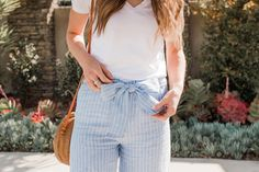 striped linen pants with a tie waist