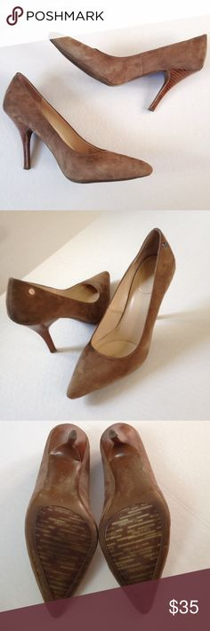 ••HP🎉•• Calvin Klein Pointed Toe Suede Pump Pointed toe suede pump from Calvin Klein. Size: 9.5. Color: Camel. Great condition, heel wear shown. Calvin Klein is worn off the soles. Heel height is 4 inches. No box. Calvin Klein Shoes Heels