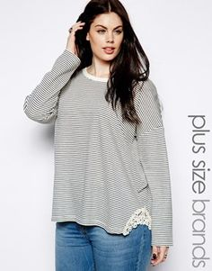 Image 1 of New Look Inspire Stripe Long Sleeve Sweat With Crochet Trim