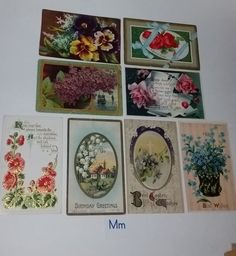 M 8 antique post cards with flowers early 1900s ephemera handwritten greeting lot postcards old paper scrap supplies vintage