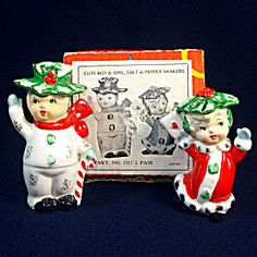 1950s Boxed Set Christmas Holly Couple Ceramic Salt Pepper Shakers