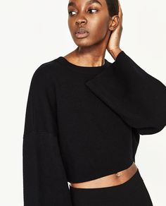 CROPPED SWEATSHIRT WITH WIDE SLEEVES-Sweaters-KNITWEAR-WOMAN-SALE | ZARA United States
