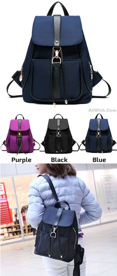 Simple Black Blue Purple School Rucksack Single Button Oxford Travel Backpack ..which color do you like? #backpack #bag #oxford #button #single #rucksack #black #college #shopping #travel