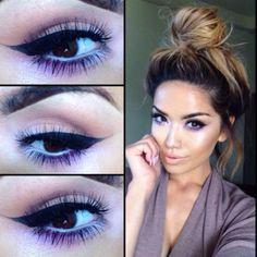 Purple and black eye makeup