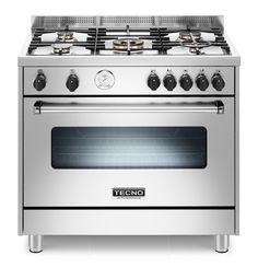 Fogão TX9D TUEL5 / 14 TECNO made in Italy. Em inox escovado,com 5 queimadores, forno elétrico de 11 funções TURBO com churrasqueira, 90 x 60cm (LxP).#TECNO #FOGAO